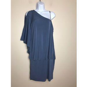 Venus one shoulder Space Blue Mini-Dress